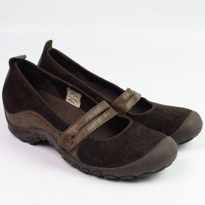 Merrell Plaza Bandeau brown suede mary jane shoe
